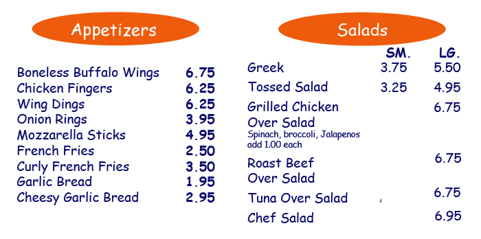 Click to Contact us to order your delicious Salads and Appetizers